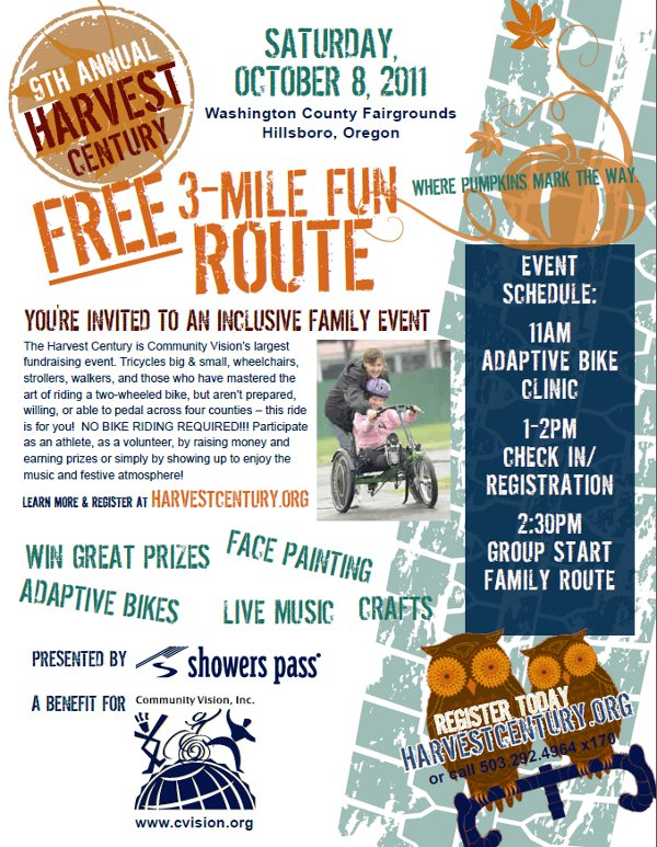Harvest Centry Bike Ride Flyer