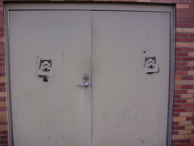 Stormtrooper Graffiti on doors on OSU campus