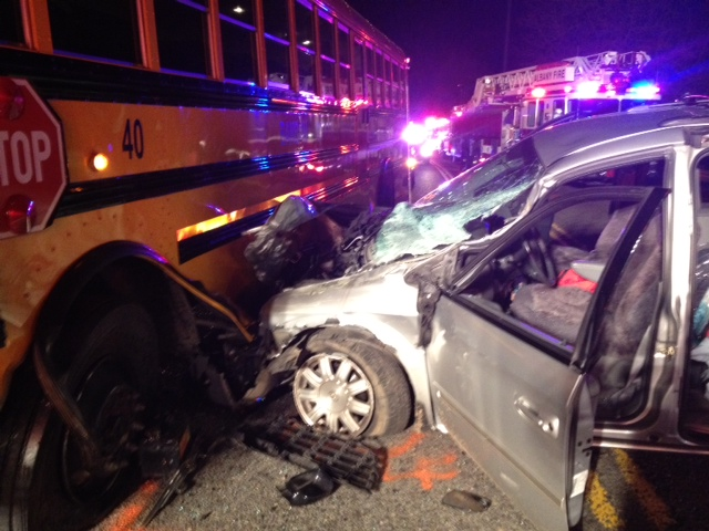 Car vs School Bus East of Albany