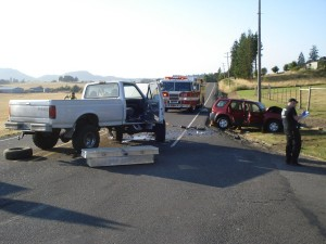 crash-scene Ankeny Hill and Hwy 99E