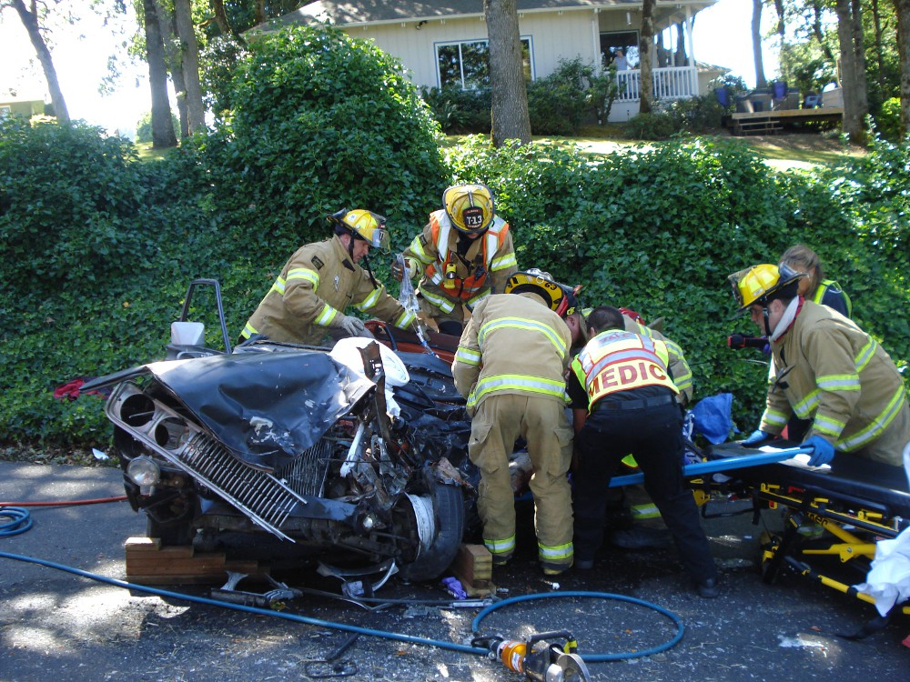 Jefferson and Albany crews working to get the patient out of the vehicle.