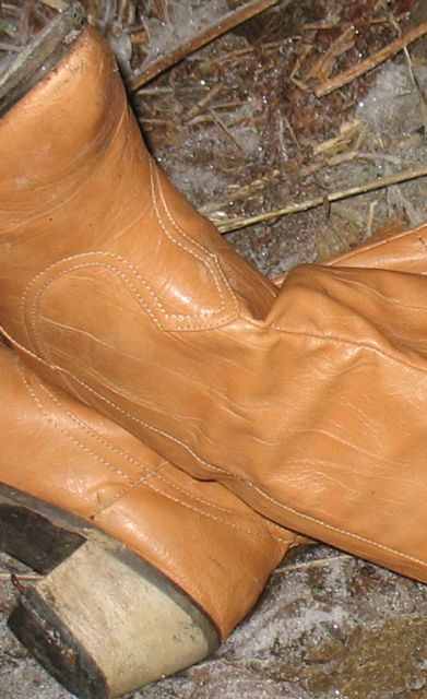 Boots belonging to unidentified person
